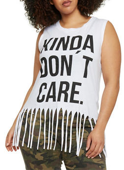 Plus Size Sleeveless Don't Care Graphic Fringe T Shirt - 1910033872069