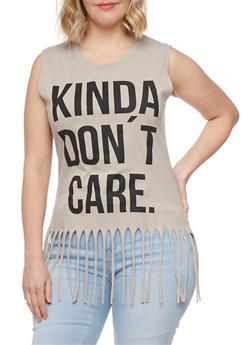 Plus Size Sleeveless Don't Care Graphic Fringe T Shirt - 1910033872069