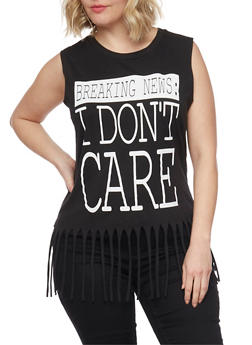 Plus Size Breaking News I Don't Care Graphic Top with Fringe Trim - BLACK - 1910033872075