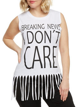 Plus Size Breaking News I Don't Care Graphic Top with Fringe Trim - WHITE - 1910033872075