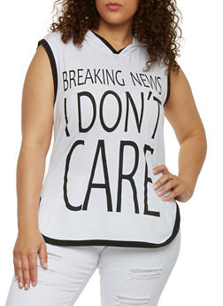 Plus Size Hooded Breaking News I Don't Care Graphic Top - BLACK-WHITE - 1910033875664