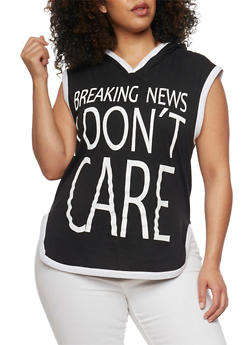 Plus Size Hooded Breaking News I Don't Care Graphic Top - BLACK/WHITE - 1910033875664