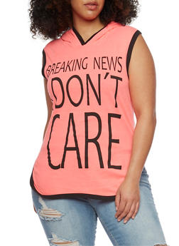 Plus Size Hooded Breaking News I Don't Care Graphic Top - 1910033875664