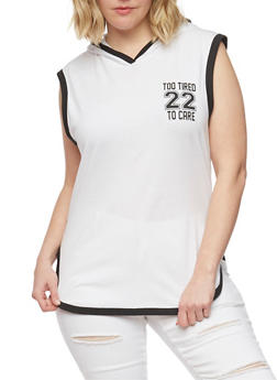Plus Size Sleeveless Hooded Too Tired to Care Graphic Top - WHITE-BLACK - 1910033877596