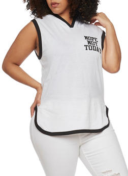Plus Size Sleeveless Nope Not Today Graphic Hooded Top - WHT-BLK - 1910033877598
