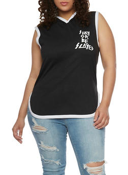 Plus Size Slay or Be Slayed Graphic Hooded Top - BLACK/WHITE - 1910033878118