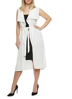 Plus Size Tie Waist Duster - 1910038340283
