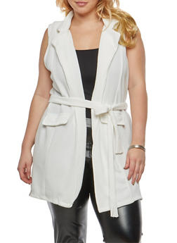 Plus Size Sleeveless Tie Waist Knit Cardigan - 1910038341287