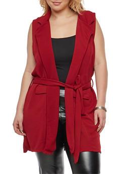 Plus Size Sleeveless Tie Waist Knit Cardigan - 1910038341287