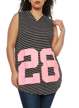 Plus Size Striped Graphic Hooded Tunic Top - 1910038342089