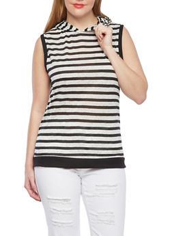 Plus Size Sleeveless Striped Top With Hood,IVORY,medium