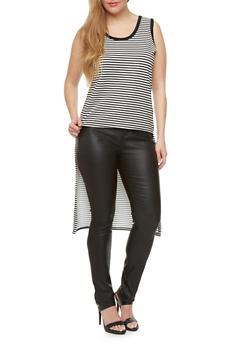 Plus Size Striped Top With High Low Hem,BLACK/WHITE,medium