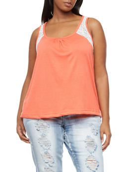 Plus Size High Low Tank Top With Crochet Sides And Back,ORANGE,medium