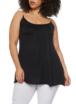 Plus Size Sleeveless Tunic Top with Chain Link Straps - 1910038347003