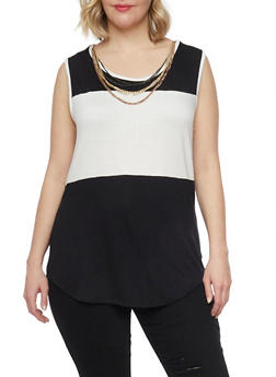 Plus Size Color Block Tank Top with Necklace - BLACK - 1910038347097