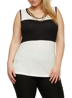 Plus Size Color Block Tank Top with Necklace - WHITE - 1910038347097