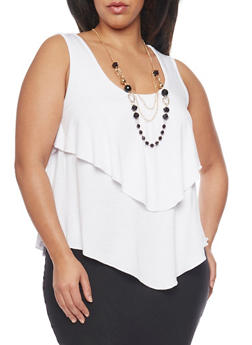 Plus Size Sleeveless Ruffled Top with Necklace - WHITE - 1910038347116