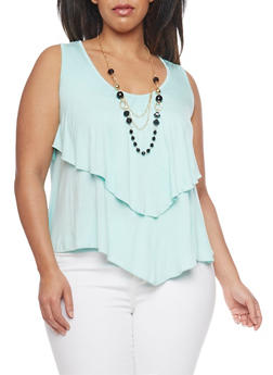 Plus Size Sleeveless Ruffled Top with Necklace - 1910038347116