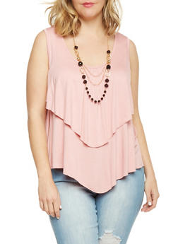 Plus Size Sleeveless Ruffled Top with Necklace - MAUVE - 1910038347116