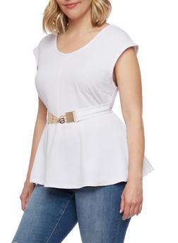 Plus Size Textured Knit Flared Top with Metal Buckle - WHITE - 1910038347140