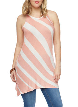 Plus Size Striped Sleeveless Tunic Top - 1910051065385