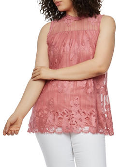 Plus Size Crochet Lace Top - 1910051065861