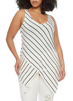 Plus Size Striped Asymmetrical Hem Top - 1910051066609