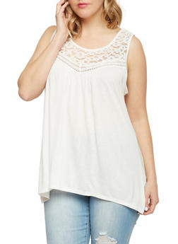 Plus Size Sleeveless Top with Lace and Crochet - WHITE - 1910054260339