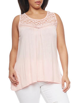 Plus Size Sleeveless Top with Lace and Crochet - BLUSH - 1910054260339