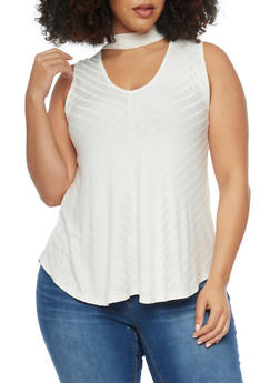 Plus Size Chevron Knit Keyhole Choker Top - WHITE - 1910054264511