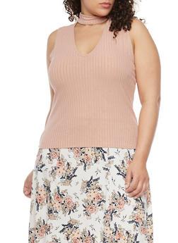 Plus Size Sleeveless Rib Knit Keyhole Choker Top - 1910054264681