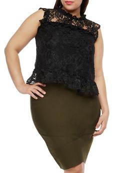 Plus Size Ruffle Lace Top - 1910054265854