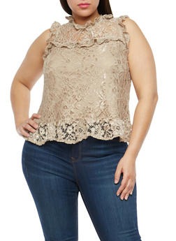 Plus Size Ruffle Lace Top - 1910054265854