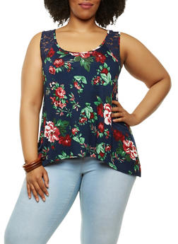 Plus Size Lace Trim Floral Tank Top - 1910054266241