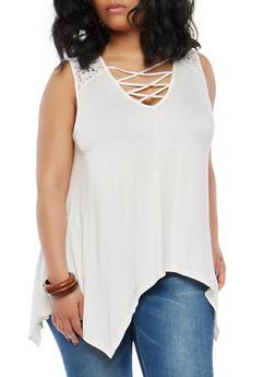 Plus Size Lace Shoulder Caged Neck Top - 1910054266960