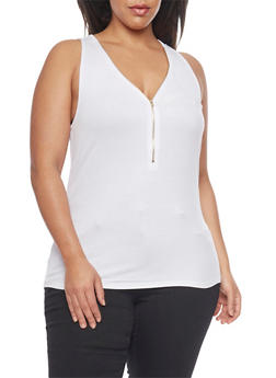 Plus Size Racerback Tank Top with Zippered Front - WHITE - 1910054268625