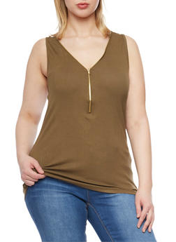 Plus Size Racerback Tank Top with Zippered Front - OLIVE - 1910054268625