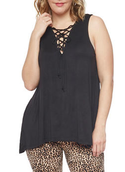 Plus Size Sleeveless Lace Up Top with Sharkbite Hem - BLACK - 1910054269490