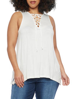 Plus Size Sleeveless Lace Up Top with Sharkbite Hem - WHITE - 1910054269490