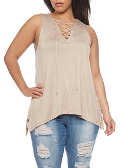 Plus Size Sleeveless Lace Up Top with Sharkbite Hem - DESERT - 1910054269490