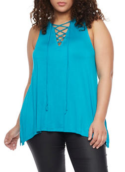 Plus Size Sleeveless Lace Up Top with Sharkbite Hem - JADE - 1910054269490