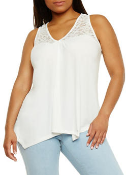 Plus Size Sleeveless V Neck Tank Top with Lace Yolk - WHITE - 1910054269533