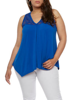 Plus Size Sleeveless V Neck Tank Top with Lace Yolk - 1910054269533