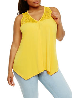 Plus Size Sleeveless V Neck Tank Top with Lace Yolk - NEW MUSTARD - 1910054269533
