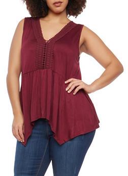 Plus Size Crochet Neckline Detail Top - 1910054269580