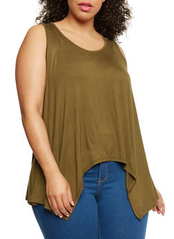 Plus Size Tank Top with Sharkbite Hem - 1910054269598