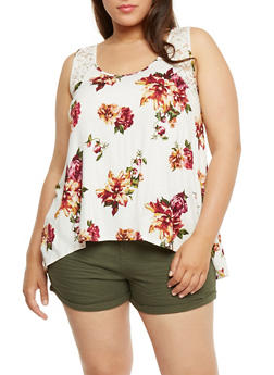 Plus Size Floral Tank Top with Lace Yoke - 1910054269624
