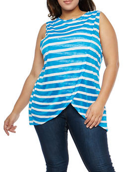 Plus Size Striped Petal Hem Top - 1910058750133