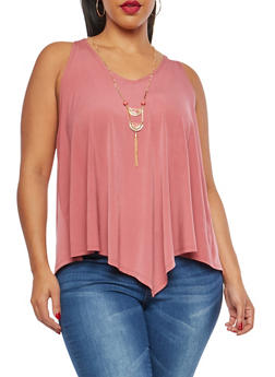 Plus Size Handkerchief Hem Top with Necklace - 1910058750190
