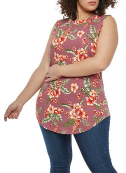 Plus Size Floral Textured Knit Top - 1910058751911